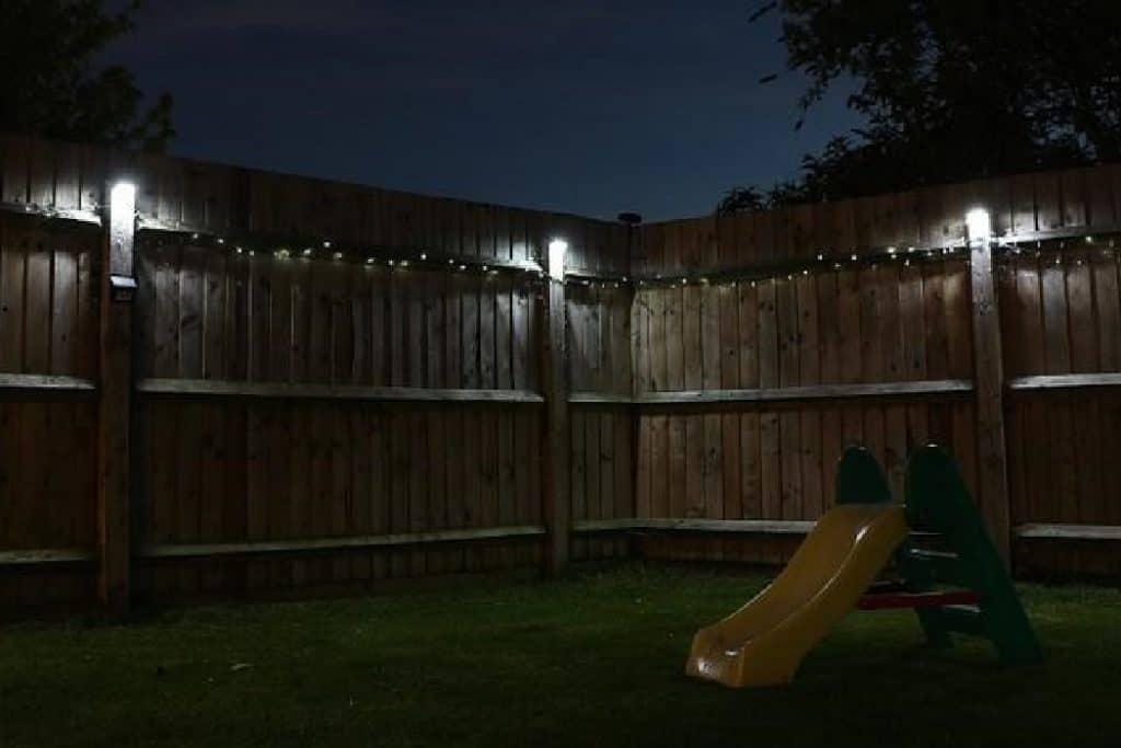 lit up fence