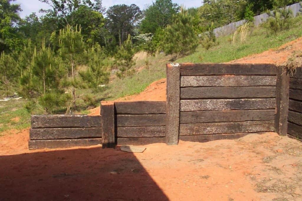 railroad tie wall