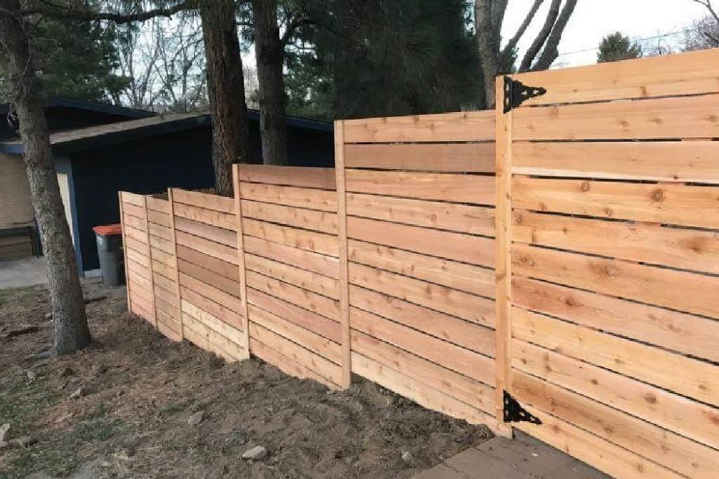 stepped wooden fence